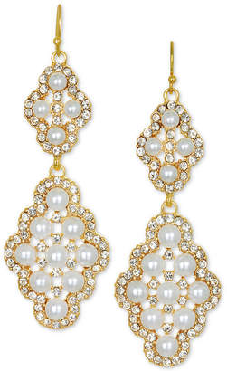 Badgley Mischka Gold-Tone Crystal & Imitation Pearl Double Drop Earrings