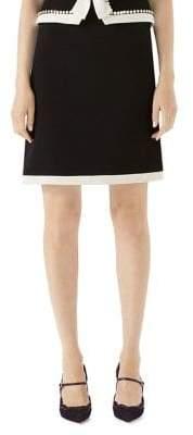 Gucci Contrast-Trimmed Wool Mini Skirt