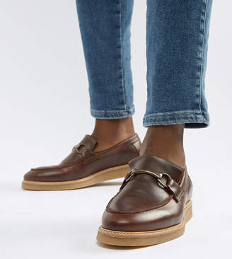 Asos DESIGN loafers in brown leather with faux crepe sole