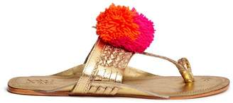 'Leo' pompom braided leather thong sandals