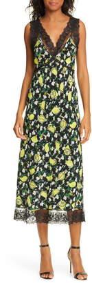 Diane von Furstenberg Issey Lace Detail Sleeveless Silk Midi Dress