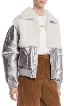 See by Chloe Metallic Leather Shearling Bomber Jacket