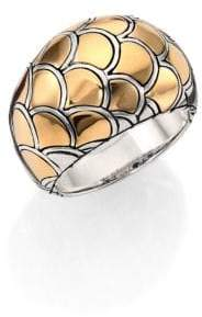 John Hardy Naga 18K Yellow Gold& Sterling Silver Dome Ring