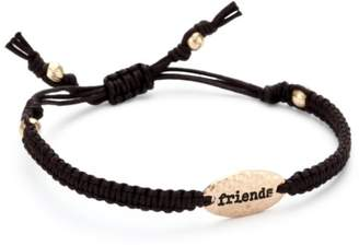"Tai Rose Gold Plate with ""Friends"" Inscribed on Cord Bracelet"