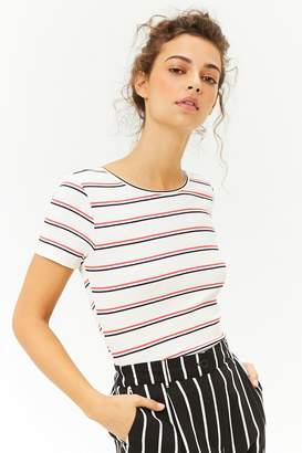 Forever 21 Striped Ribbed-Knit Crisscross Tee