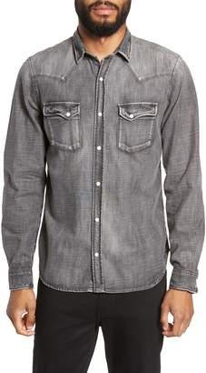The Kooples Washed Trim Fit Denim Shirt