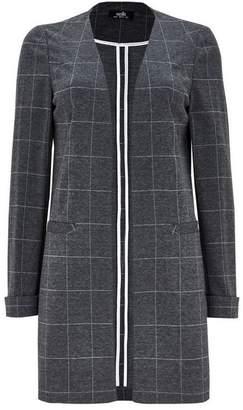 Wallis Grey Checked Longline Blazer
