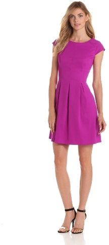 Amy Byer Women's Cap Sleeve Dress with Pleated Skirt