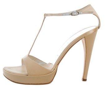 Vera Wang Satin T-Strap Sandals