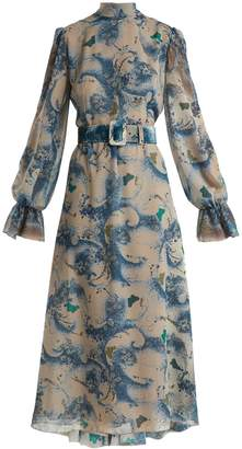 Luisa Beccaria Wave and butterfly-print georgette midi dress