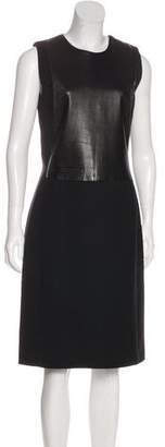 Calvin Klein Collection Leather-Accented Midi Dress