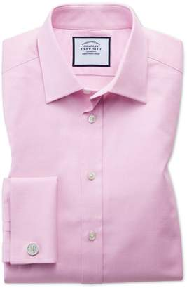 Charles Tyrwhitt Slim Fit Egyptian Cotton Trellis Weave Pink Dress Shirt Single Cuff Size 15.5/32
