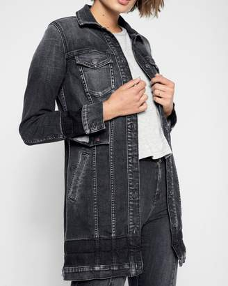 7 For All Mankind Long Trucker Jacket with Shadow Hems in Vintage Noir