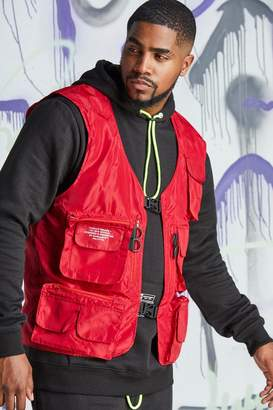 boohoo Big & Tall Quavo Nylon Military Buckle Vest