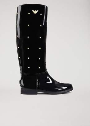 Emporio Armani Rubber Boot With Decorative Studs And Logo