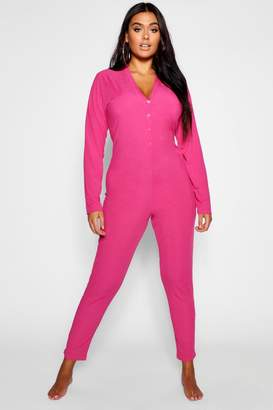 boohoo Plus Ribbed Button Detail Onesie