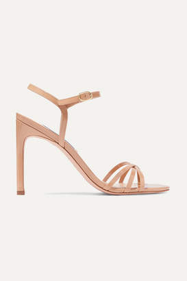 Stuart Weitzman Starla Patent-leather Sandals - Beige