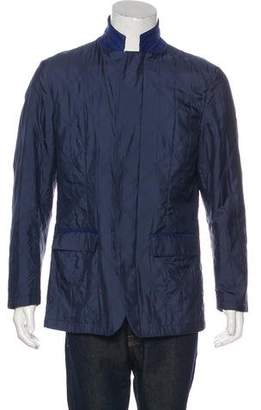 Kiton Silk Quilted Suede-Trimmed Jacket