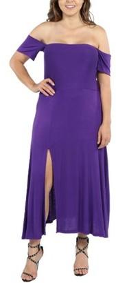 24/7 Comfort Apparel Star Sweep Off Shoulder Plus Size Dress