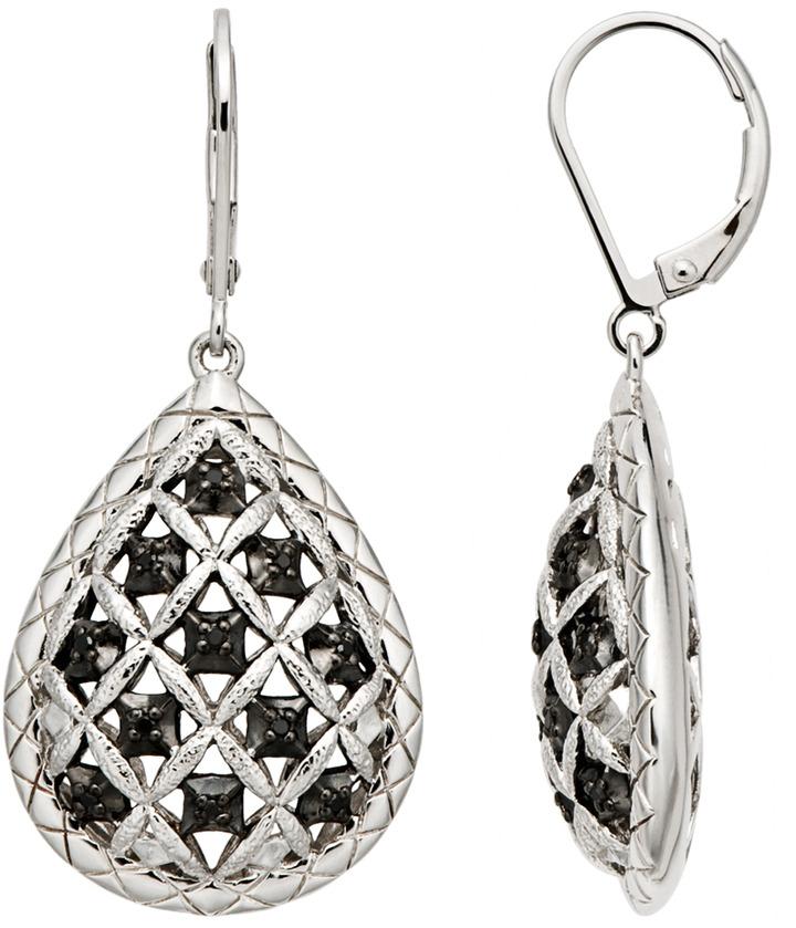 1/10 Carat Black Diamond Sterling Silver Earrings