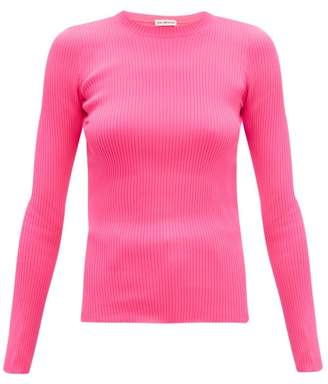 Balenciaga Crew Neck Rib Knitted Sweater - Womens - Pink