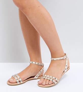 Asos Design FIBBING Wide Fit Studded Flat Sandals