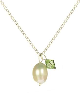 Swarovski Sterling Crystallized Elements August Birthstone Peridot Color Bicone Drops and White Freshwater Cultured Pearl Necklace