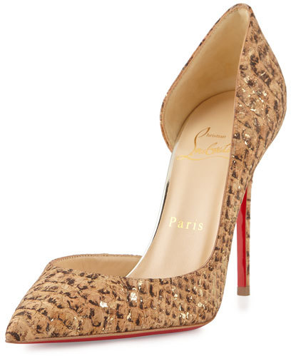 Christian Louboutin  Christian Louboutin Iriza Cork Half-d'Orsay Red Sole Pump, Gold