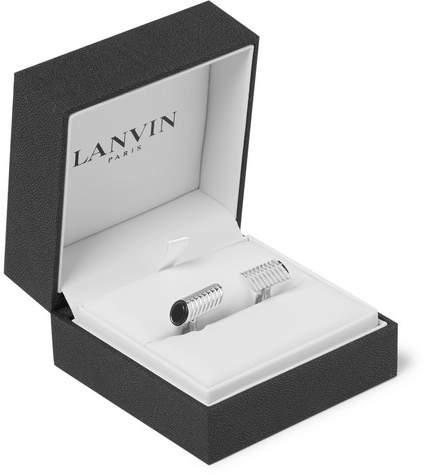 Lanvin Rhodium-Plated Onyx Cufflinks