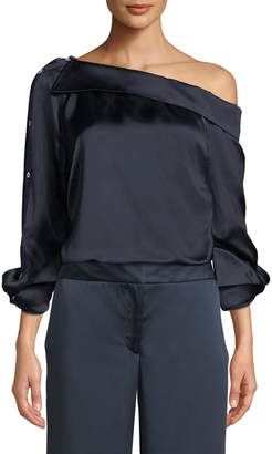 Monse One-Shoulder Button-Sleeve Satin Shirt