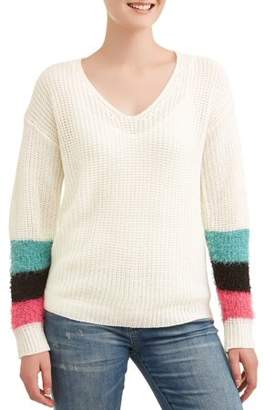 No Comment Juniors' Colorblock Fur Trimmed Long Sleeve Sweater