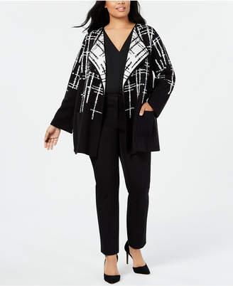 Alfani Plus Size Double-Faced Sweater Jacket