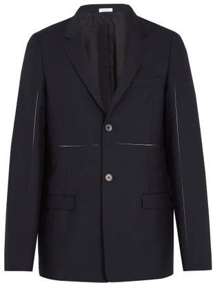 Jil Sander Exposed Seam Panelled Wool And Mohair Blend Blazer - Mens - Dark Navy