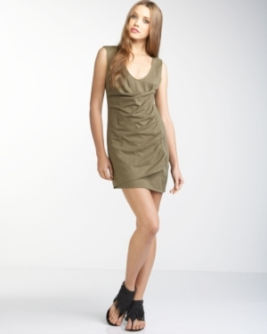 Shirred Zip Wrap Dress, Green