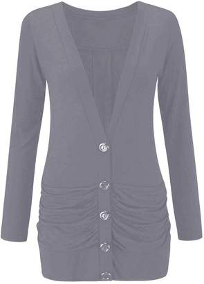 Thever Women Ladies Long Sleeve 5 Button Plain Cardigan Two Side Pockets Sz 8-22 (2XL, )