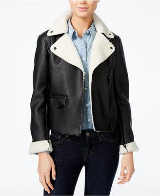 Armani Exchange Faux-Fur-Trim Bomber Jacket $260 thestylecure.com