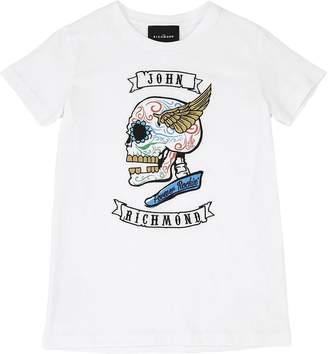 John Richmond Embroidered Cotton Jersey T-Shirt