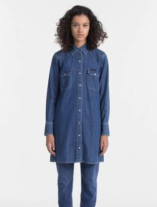 Calvin Klein western denim shirt dress