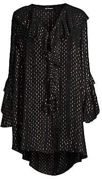 The Kooples Women's Frill Metallic V-Neck Silk Mini Dress