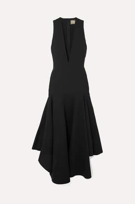 SOLACE London The Santana Ruffled Crepe Midi Dress - Black