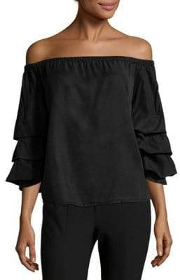 Saks Fifth Avenue Frill Off-The-Shoulder Top