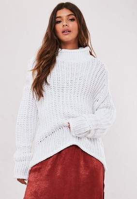 Missguided White High Neck Oversized Ribbed Sweater