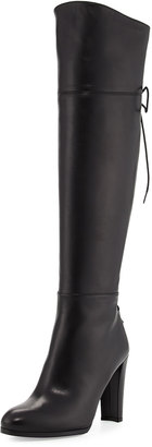 Stuart Weitzman Lacemeup Leather Over-The-Knee Boot, Black $629 thestylecure.com