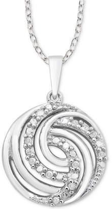 """Macy's Diamond Swirl 18"""" Pendant Necklace (1/10 ct. t.w.) in Sterling Silver"""