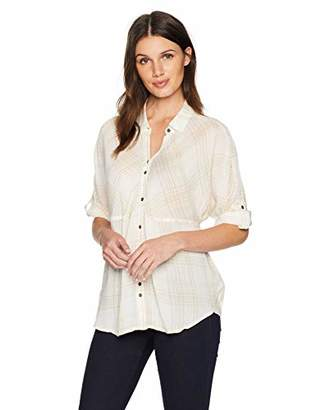 Nine West Women's Hayden Roll Sleeve Dolman Shirt