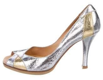 Casadei Metallic Peep-Toe Pumps Silver Metallic Peep-Toe Pumps