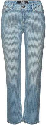 Karl Lagerfeld Paris Sparkle Girlfriend Straight Leg Jeans with Crystals