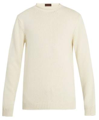 Altea - Ribbed Knit Cotton Sweater - Mens - White