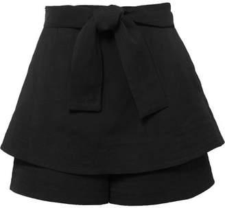 Maje Layered Twill Shorts - Black