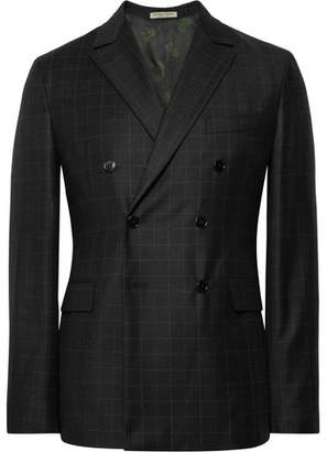 Bottega Veneta Charcoal Double-Breasted Windowpane-Checked Wool Suit Jacket